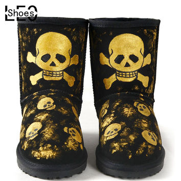 LEO One Piece Golden Skull Women Hand Painted Snow Boots Nubuck Cartoon Warm Shoes Rubber Sole Winter Boots for Female Girls
