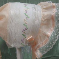 Heirloom Collection Peach Baby Bonnet