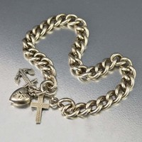 Silver Curb Chain Bracelet with Anchor Heart Cross Charm C 1897