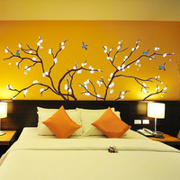 Birds Fly in Plum Tree Wall Stickers – WallStickerDeal.com