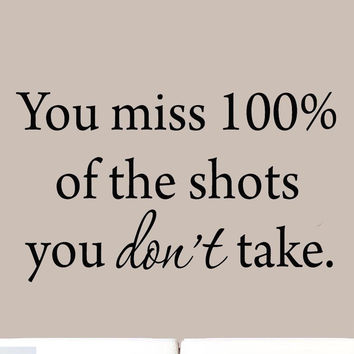 You Miss 100% of the Shots You Don't Take Wayne Gretsky Quotes Wall Decals Hockey Wall Art VWAQ-609
