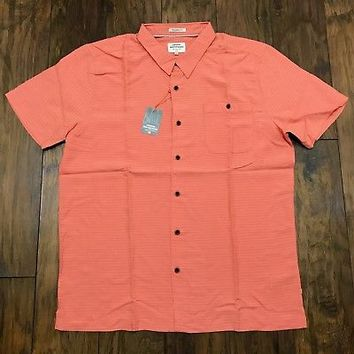 Quicksilver Waterman Collection Salmon Button Up Shirt Mens XXL 2XL Tailored Fit
