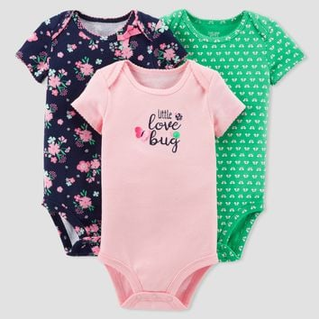 Baby Girls' 3pk Floral Love Bug Bodysuit Set - Just One You™ Made by Carter's® Pink/Navy