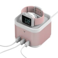 MAKETECH Aluminum Apple Watch/Fitbit Blaze/Smartphone [3 in 1 Bracket] Charging Stand with Cable Management, 4-Port 6A/30W Desktop USB Charging Station for Smartphones and Tablets (Pink Gold)