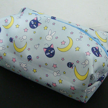 Cute kawaii Sailor moon Pencil Case kid Supply Cosmetic makeup pouch soft bear Japanese anime luna cat sky blue