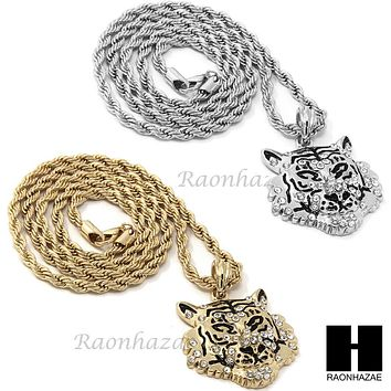 "MENS HIP HOP LION COUGAR FACE CZ PENDANT 24"" ROPE CHAIN NECKLACE N028"