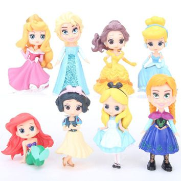 Hot 8Pcs/Set Elsa Anna Cinderella Alice Mermaid Snow White Dolls 5-9CM Action Figure Lovely Toy Cute Doll For Baby Birthday Gift