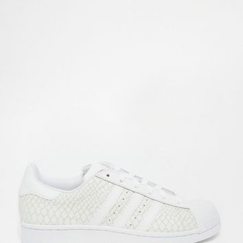 adidas Orginals White Leather Snake Effect Superstar Sneakers