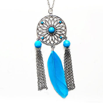 Flower and Feather Pendant - Turquoise - Extra Long Antique Silver Necklace - Long Chain - Large Floral Pendant