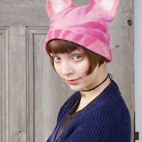 Pink Pussyhat, feminist pink hat, Pussy cat hat with ears, Women's Rights Hat, feminist March hat, felted wool hat, gift for cat lovers