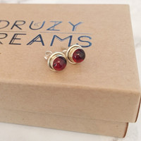 SAMPLE SALE - Garnet Sterling Silver Stud Earrings - Druzy Dreams