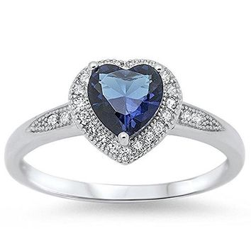 Blue Sapphire Heart Halo 925 Sterling Silver Ring Sizes 412