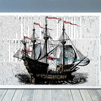 Vintage print Nautical art Ship poster Antique print RTA864