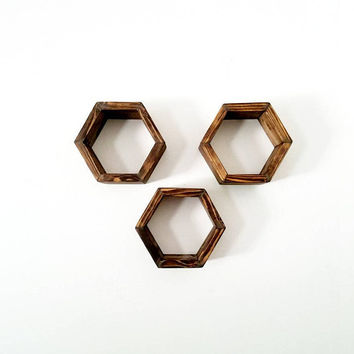 3 Honeycomb Rustic Shelf Set - Geometric Hexagon Floating Shelves - Home Decor