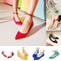 Womens Sweet Pointed Toe Flats Casual Dating Ankle Strap Candy Shoes Plus Size