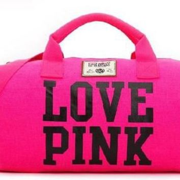 VICTORIA'S SECRET LOVE PINK DUFFLE TRAVEL WEEKENDER GYM BAG SHOULDER BAG