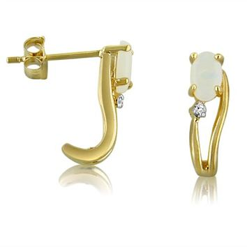 14K Yellow Gold Oval Opal and Diamond Wave Earrings