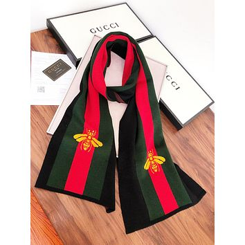 GUCCI Autumn And Winter Fashion New Stripe Embroidery Bee Keep Warm Women Men  Scarf  Black