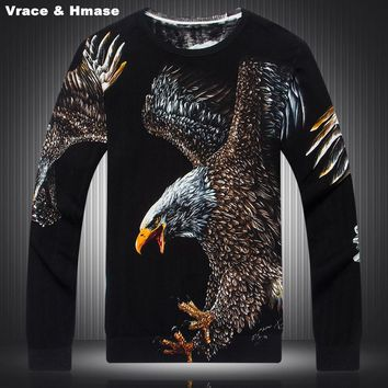 Chinese style Eagle pattern 3D printing high-quality wool&cotton sweater 2016 Autumn&Winter fashion casual sweater men M-XXXL
