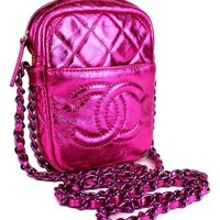 CHANEL Quilted Metallic Pink Leather Chain Crossbody Bag #39876 free shipping