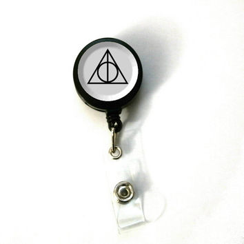 Harry Potter Deathly Hallows Image Retractable ID Name Holder Badge Reel Clip On Nurse