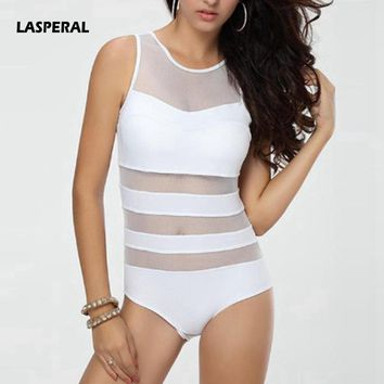 LASPERAL 2017 Women Bikini Swimwear Sexy Mesh Patchwork Striped One Piece Swimsuit Beach Bathing Suit Maillot De Bain Femme