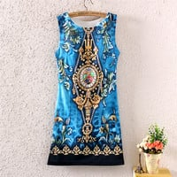 Summer Slim Round-neck Print Dress One Piece Dress [4919364804]