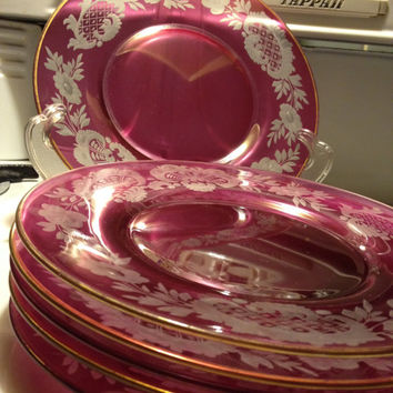 Boheme Czech Etched Flash Cranberry Glass Salad Plates 6 Early 1900s Vintage Antique