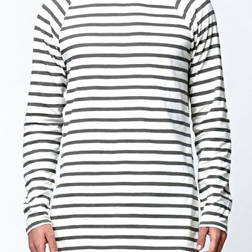 Reign+Storm Striped Longline T-Shirt - Mens Shirt - Grey