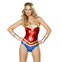 Wonder Woman Bodysuit Costume with Rhinestone Detail