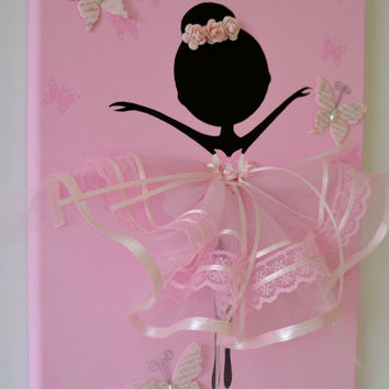 Dancing Butterfly Ballerina. Pink Ballerina wall art/canvas.