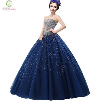 Evening Dress Navy Blue Luxury Crystal Beading Strapless Sexy Prom Dress