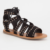 BAMBOO Studded Lace Up Womens Gladiator Sandals | Sandals