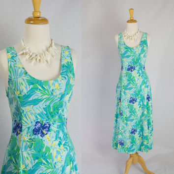 Vintage 80s Tropical Bombshell Midi Sun Dress Summer Festival
