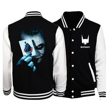 The Joker Poker print men jacket 2017 spring fashion MMA Super Villain Heath Ledger brand clothing sweathsirts funny hoodies