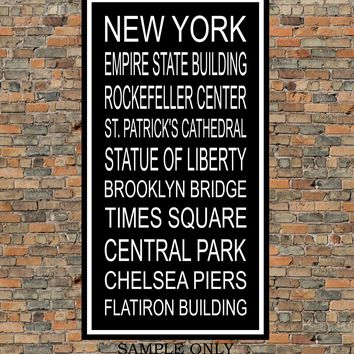 New York City Subway Sign Print - Empire State Building, Rockefeller Center, Brooklyn Bridge, Chelsea Piers