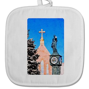 Manitou Springs Watercolor White Fabric Pot Holder Hot Pad by TooLoud