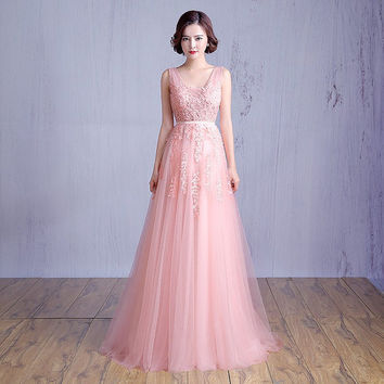 Light pink prom dress evening gown pink maxi dress homecoming dress