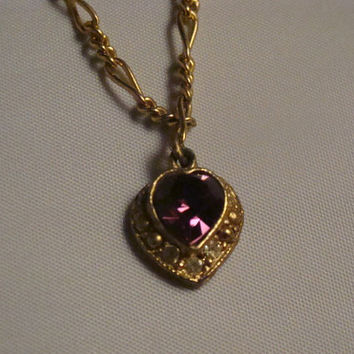 Vintage Monet amethyst purple heart pendant necklace gold chain signed costume jewelry