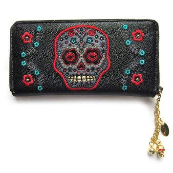 Day of the Dead Flower Sugar Skull Embroidered Zip Around Wallet