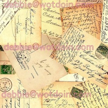 Printable French Postcard Backs Script Handwriting Penmanship Postal Stamps Mail Carte Postale Digital Collage Sheet