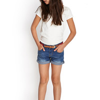 FOREVER 21 GIRLS Classic Cuffed Denim Shorts (Kids) Medium Denim 5/6