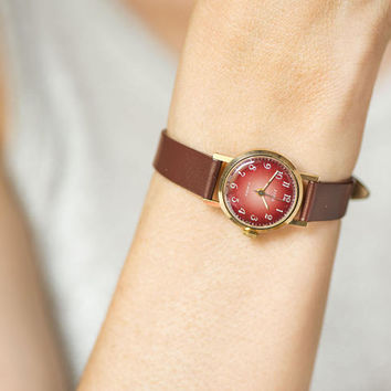 Vintage burgundy watch for women. Gold plated lady wristwatch Dawn. Minimal small watch mechanical. Soviet watch. New luxury leather strap