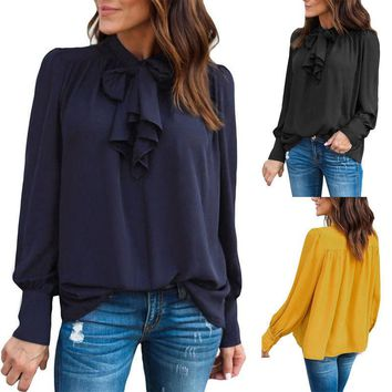 Fashion Women Ladies Long Sleeve Loose Blouse Summer Tie Bow Casual Shirt Tops