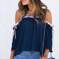 Azul Frill Bow Off Shoulder Top