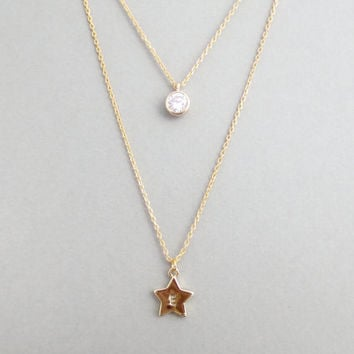 Tiny, Cubic, Personal, Letter, Initial, Star, Gold, Double, Layering, Necklace, Simple, Modern, Dainty, Cubic, Star, Double, Strand, Jewelry