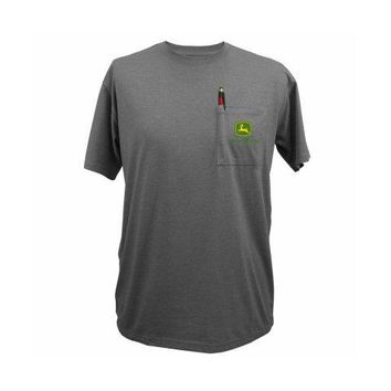 John Deere 14031569CH05 Men's Pocket Tee Shirt w/John Deere Logo, Charcoal, Large