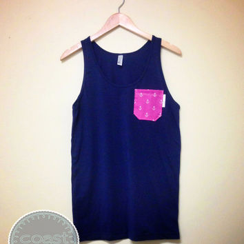 Navy and Pink Anchor Pocket Tank