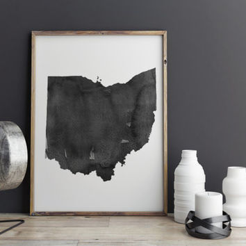 Ohio Watercolor Printable Art Ohio Poster State Watercolor Map Watercolor Poster State Poster Ohio Gift Ohio Wall Art Instant Download