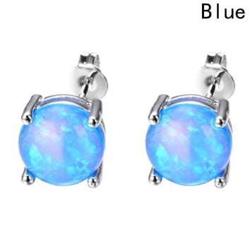 Stud Earrings for Women Fashion White Blue Pink Purple Fire Opal Earrings Wedding Jewelry Earring
